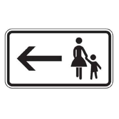 Fußgänger Gehweg gegenüber benutzen, linksweisend - Verkehrszeichen nach StVO