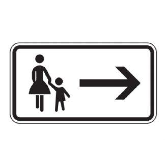 Fußgänger Gehweg gegenüber benutzen, rechtsweisend - Verkehrszeichen nach StVO
