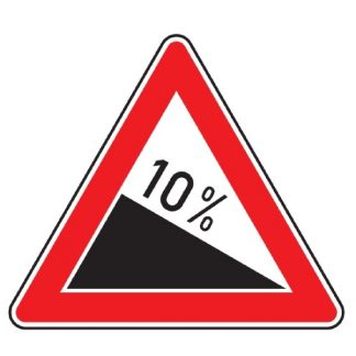 Verkehrszeichen nach StVO Gefälle X %