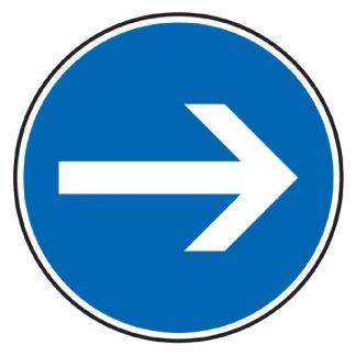 Vorgeschriebene Fahrtrichtung hier rechts - Verkehrszeichen nach StVO