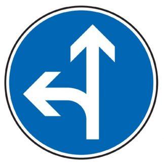 Vorgeschriebene Fahrtrichtung geradeaus und links - Verkehrszeichen nach StVO