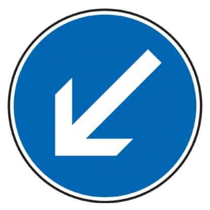 Vorgeschriebene Fahrtrichtung links vorbei - Verkehrszeichen nach StVO