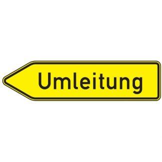 Umleitung linksweisend - Verkehrszeichen nach StVO